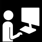 arbeta vid datorn, Pictogram.